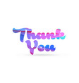 thank you pink blue color word text logo icon vector image