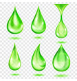 translucent green drops vector image vector image