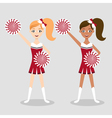 two cheerleders caucasian and afro american girls vector image