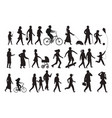 walking persons silhouette group people young vector image vector image