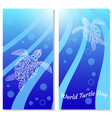 world turtle day water turtles flyers for event vector image vector image