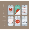 set paper badge sticker Valentines day vector image