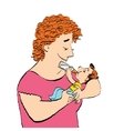 Joyful woman feeds the baby milk from a bottle vector image