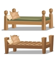 Single wooden bed Interior items in cartoon style vector image