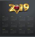 2019 calendar template kenya country map golden vector image vector image