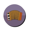 accordion with keyboard in round frame vector image vector image