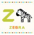alphabet for children letter z and a zebra vector image vector image