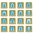 arch types icons set sapphirine square vector image vector image