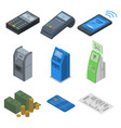 bank terminal icon set isometric style vector image