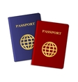 Blue and Red Passports Isolated on White vector image vector image