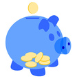 Blue piggy bank with coins vector image vector image