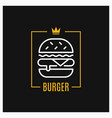 burger linear logo design burger icon in frame vector image