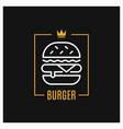 burger linear logo design icon in frame vector image