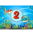 Card number two with 2 fish underwater vector image vector image