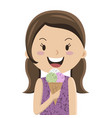 cartoon girl eating ice cream cornet vector image vector image