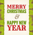 christmas greeting on old paper with fir vector image