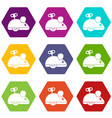 clockwork mouse icon set color hexahedron vector image vector image