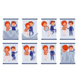 couple sleeping in bed set vector image