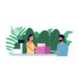 customer and cashier shopping concept flat man vector image