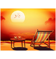 deckchair at sunset vector image vector image