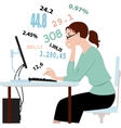 Doing taxes crunching numbers vector image vector image
