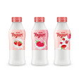 drink yogurt realistic set bottles of vector image