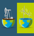 flat landscape releated with windpower and fossil vector image vector image