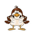 funny cartoon sparrow with wings akimbo vector image vector image