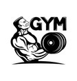 gym sign with strong athlete vector image vector image