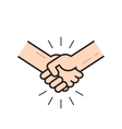 handshake icon isolated flat outline line vector image