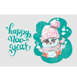 happy new year greeting card with cute little owl vector image vector image