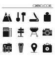 hiking and camping icons set outdoor camp sign vector image vector image