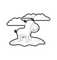 hippopotamus cartoon in outdoor scene with clouds vector image