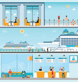 info of cruise ship terminal at sea port with vector image vector image