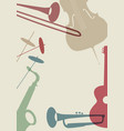 jazz poster set musical instruments typical of vector image