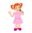 little young girl in pink singing a song vector image