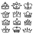 luxury doodle queen crowns sketch vector image vector image