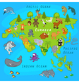 map of Eurasia with animals vector image vector image