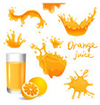 orange juice splashes vector image vector image