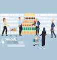 people in grocery store sale at supermarket vector image