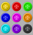 scales Icon sign symbol on nine round colourful vector image