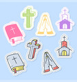 set christian stickers pins patches and vector image