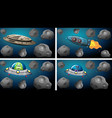 set different space ships vector image vector image