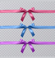 set of realistic pink purple and blue vector image vector image