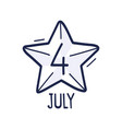 star with number 4 is hand-drawn vector image vector image