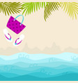 summer card design with bag flip flop and vector image