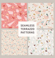 terrazzo set seamless patterns vector image