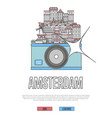 travel amsterdam poster with camera vector image vector image