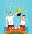 trophy sports awards and winner team people vector image