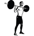weightlift workout at the gym with barbell vector image